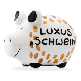 Sparschwein aus Keramik von KCG Chaoskind - Sondermodell - Goldedition - Luxus Schwein - goldener Lack