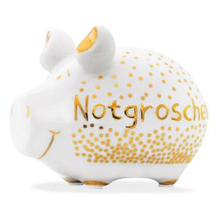 Sparschwein aus Keramik von KCG Chaoskind - Sondermodell - Goldedition - Notgroschen - goldener Lack - goldener Schriftzug