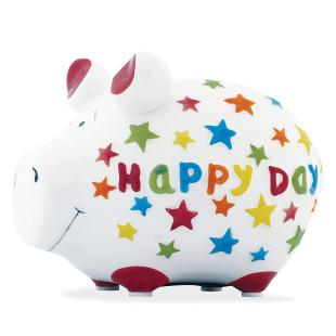 Buntes Sparschwein mit Schriftzug HAPPY DAY und bunten Sternchen.