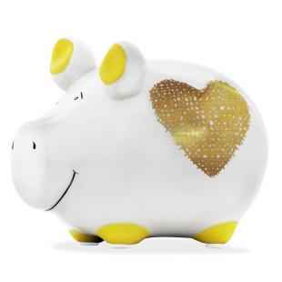 Keramik Sparschwein mit goldenen Herz.