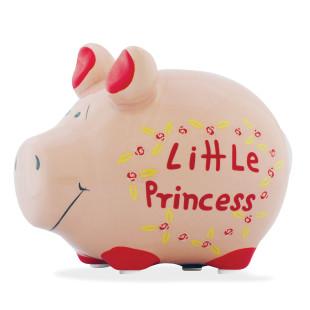 Das kleine Sparschwein aus Keramik mit Schriftzug - Little Princess.