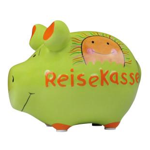 Keramik Sparschwein in grün - REISEKASSE