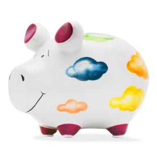 Sparschwein aus Keramik mit bunten Wolken - lustiges Sparschweinchen von KCG - Spardose mit Gummistopfen.