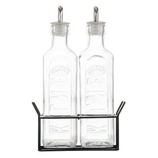 Essig und Öl Menage von Kilner®. Stilvolles Set für Essig und Öl. 2 dekorative Spender-Flaschen im schönen Metallständer