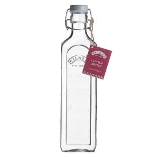 Große Glasflasche mit Bügelverschluss 1000 ml eckig. Drahtbügelflasche 1 l von Kilner. Glas Aufbewahrung.