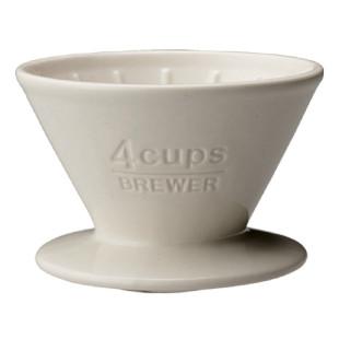 Kaffeefilter Porzellan - brewer 4Cups, weiß