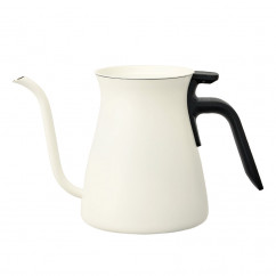 Weiße Kanne POUR OVER KETTLE 900 ml aus Edelstahl von KINTO. Für Wasser, Tee, Kaffee und mehr!