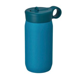 Doppelwandige Kindertrinkflasche 300 ml PLAY TUMBLER türkisblau. Edelstahl Trinkflasche Kinder. Blaue Thermosflasche KINTO.