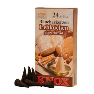 Original KNOX Räucherkerzen LEBKUCHEN. Räucherkegel Erzgebirge - 24 Stück Rauchkerzen Lebkuchenduft.