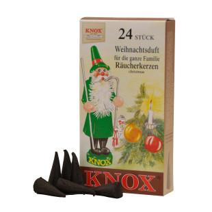 Das Original! Weihnachtliche Räucherkerzen WEIHNACHTSDUFT von KNOX aus dem Erzgebirge. Räucherkegel 24 Stück.