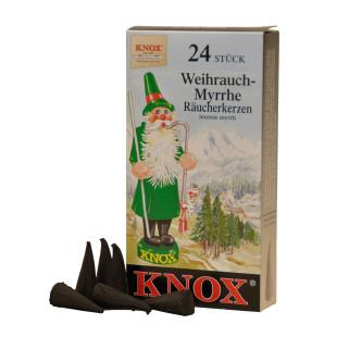 Das Original! Weihnachtliche Räucherkerzen WEIHRAUCH-MYRRHE von KNOX aus dem Erzgebirge. Räucherkegel Weihrauch 24 Stück.