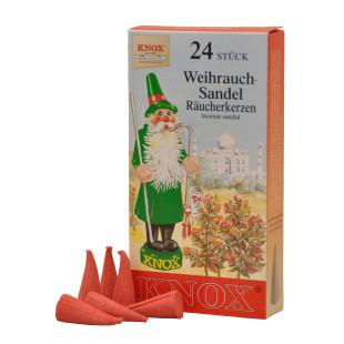 Das Original! Weihnachtliche Räucherkerzen WEIHRAUCH-SANDEL von KNOX aus dem Erzgebirge. Räucherkegel Sandel 24 Stück.