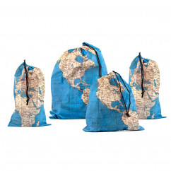 Travel Bag Set - Around the World - Zugbeutel mit Weltkarten-Look - Kikkerland - 4er Set