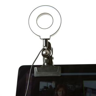 Klammernlicht Kikkerland. Klemmlicht SELFIE RING LIGHT mit LED Leuchtmittel. Leselicht / PC Licht / Ringlicht / Videolicht ...