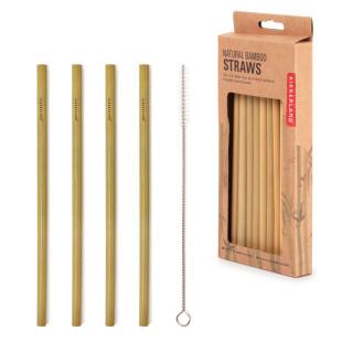 Strohhalme aus Bambus von Kikkerland. Umweltfreudliche Trinkhalme. 8 Stück im Set + Reinigungsbürste.  Nachhaltige Strohhalme aus Holz