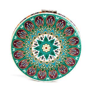 Klappbarer Taschenspiegel mit grünem Mandala Motiv von Kikkerland Design - 1 Spiegelseite mit 2fach Vergrößerung.