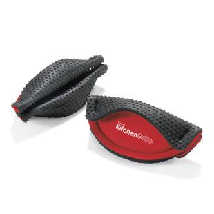 Topfgriffhalter 2er- Set aus genoppten Silikon von Kitchen Grips (rot-schwarz). Hitzebeständige Küchenhandschuhe / Ofenhandschuhe.