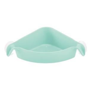 Eckablage für Dusche. Duschablage mit Saugnäpfen - Kunststoff mint türkis. Badablage Eckutensilo BOKS spa turquoise von Koziol Design.