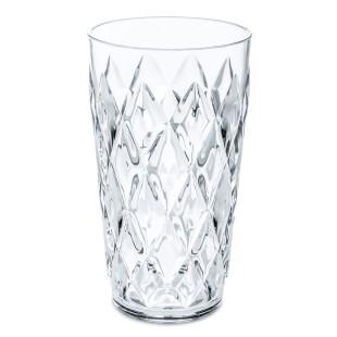Becher aus Kunststoff transparent. Trinkglas 450 ml mit Facettenschliff von Koziol. Trinkbecher aus der Serie CRYSTAL.