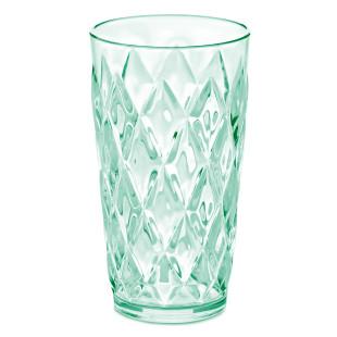 Trinkbecher Kunststoff in transparentem jadegrün. Trinkglas mit Facettenschliff von Koziol. Trinkglas 450 ml  Serie CRYSTAL.