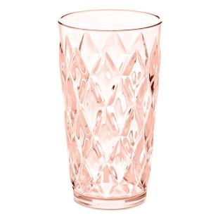 Becher aus glasähnlichem Kunststoff in transparentem rosa. Trinkglas 450 ml mit Facettenschliff von Koziol. Trinkbecher rose quartz aus der Serie CRYSTAL.