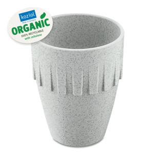 Grauer Kaffeebecher CONNECT ORGANIC 300 ml von Koziol Design. Kaffeetasse grey, Cappuccinobecher BPA-frei. Trinkbecher Tee oder Kaffee - aus nachhaltigem Kunststoff.
