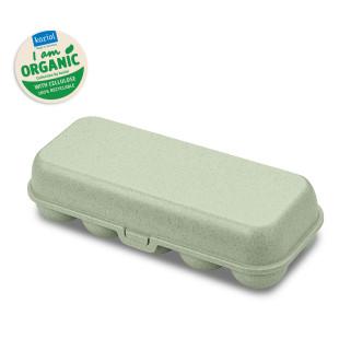 Grüne EGG TO GO Eierschachtel von Koziol Design. Mehrwegbox für 10 Eier, Eierbehälter, Eierschachtel, Eierbox aus nachhaltigem Kunststoff.