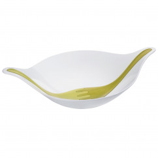 Salatschale mit Besteck LEAF L+, 3 Liter weiß-grün