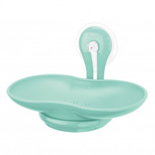 Transparente Seifenschale mit Saugnapf LOOP von koziol design. Ovale Seifenschale aus BPA-freien Kunststoff mint spa turquoise.