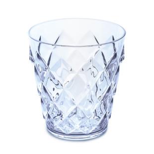 250 ml Becher aus glasähnlichem Kunststoff in transparentem aquamarine blau. Trinkglas mit Facettenschliff von Koziol. Trinkbecher aus der Serie CRYSTAL S.