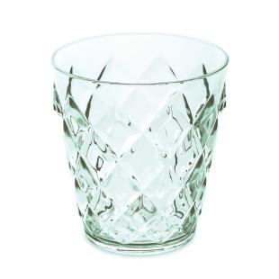 250 ml Becher aus glasähnlichem Kunststoff in transparentem jadegrün. Trinkglas mit Facettenschliff von Koziol. Trinkbecher aus der Serie CRYSTAL S.