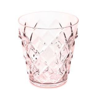 250 ml Becher aus glasähnlichem Kunststoff in transparentem rosa . Trinkglas mit Facettenschliff von Koziol. Trinkbecher rose quartz aus der Serie CRYSTAL S.