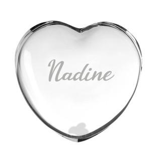 Herz aus Glas mit Namensgravur von Leonardo Design.