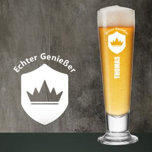 Pilsglas mit Gravur ECHTER GENIEßER + Namensgravur