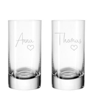Schnapsglas 2er-Set mit Gravur Herz & Name von Leonardo Design - Stamper EASY+ Shotglas - 50 ml / 5 cl Schnapsglas individuell graviert
