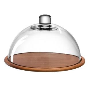 Käseglocke CUCINA von Leonardo Design. Runder Holzteller aus Akazie mit modernen Glasglocke. Schützt vor Schmutz und Insekten.