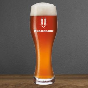 Weizenbierglas mit Gravur WUNSCHNAME I. Personalisiertes Leonardo Weizenbierglas. Weißbierglas mit Name graviert.