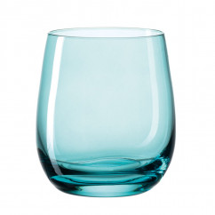 Farbiges Windlicht / Trinkglas SORA blau. Bauchiges Glas bunt transpartent - Made in Germany by Leonardo Design.