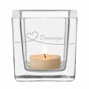 Windlicht mit Gravur Herz + Namensgravur. Windlicht Liebe von Leonardo Design. Glaswindlicht mit Gravurtext.