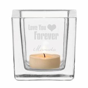 Windlicht Liebe - Teelichthalter aus Glas mit Gravur LOVE YOU FOREVER - graviertes Windlicht für Verliebte.