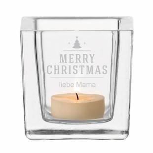 Windlicht mit XMAS Gravur Merry Christmas. Gravierter Teelichthalter mit Weihnachts-Gravur. Eckiges Glaswindlicht von Leonardo Design - personalisiert.