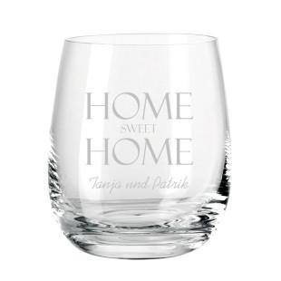 Windlicht mit Gravur transparent. Bauchiges, graviertes Glas für Teelicht farbig von Leonardo Design. Personalisiertes Windlicht.