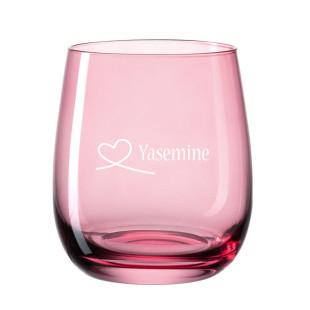 Personalisiertes Windlicht graviert - Herzschleife - Herz - Love. Roter Teelichthalter aus Glas von Leonardo mit Gravur.