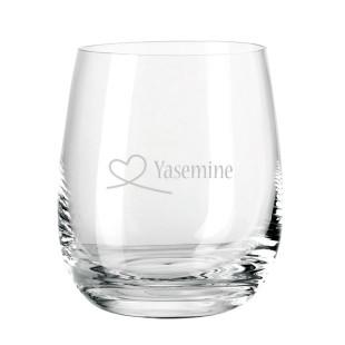 Transparentes Glas Windlicht mit Gravur Herzschleife + Namensgravur. Teelichthalter / Glaslicht / Sora Glas von Leonardo Design.