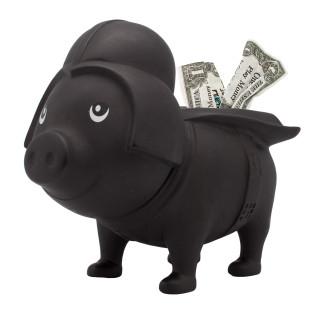 Sparschwein Black Star - Sparschweine BIGGYS von LiLaLu - lustiges Sparschwein schwarz mit Helm und Umhang - Spardose, Sparbüchse ... für Kinder und Erwachsene.