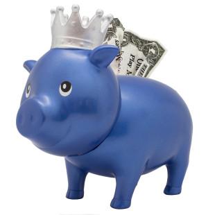 Blaues Sparschwein mit Krone - Sparschweine BIGGYS von LiLaLu - lustige Sparschweine - Spardose, Sparbüchse blue diamond ... für Kinder und Erwachsene.