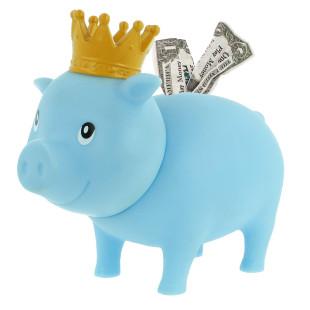 Sparschwein hellblau mit Krone - Its a boy - Geburt, Geburtstag - Sparschweine BIGGYS von LiLaLu - lustige Sparschwein für Jungs - Spardose, Sparbüchse ... für Kinder.