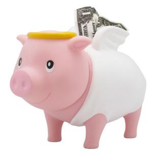 Sparschwein Schutzengel  - Sparschweine BIGGYS von LiLaLu - lustige Sparschwein mit Heiligenschein - Spardose, Sparbüchse ... für Kinder und Erwachsene.