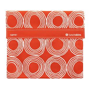 Lunchtüte QUART SUNSET CIRCLES von lunchskins. Die orange, wiederverwendbare Brotzeittüte von lunchskins mit Klettverschluss. Kreise Print