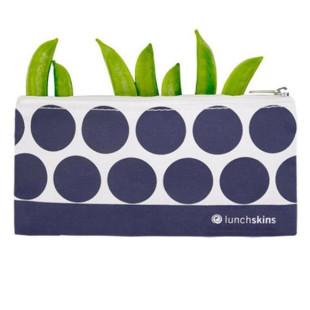 Lunchskins Lunchtüte SMALL ZIP BAG - Navy Blue Dots - Kleine Snacktüte mit Reißverschluss und blauen Punkte-Design.